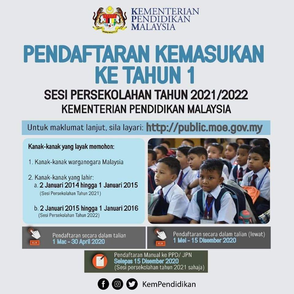 Pendaftaran Tahun 1 2021 2022 Untuk Anak Yang Lahir 2014 Hingga 1