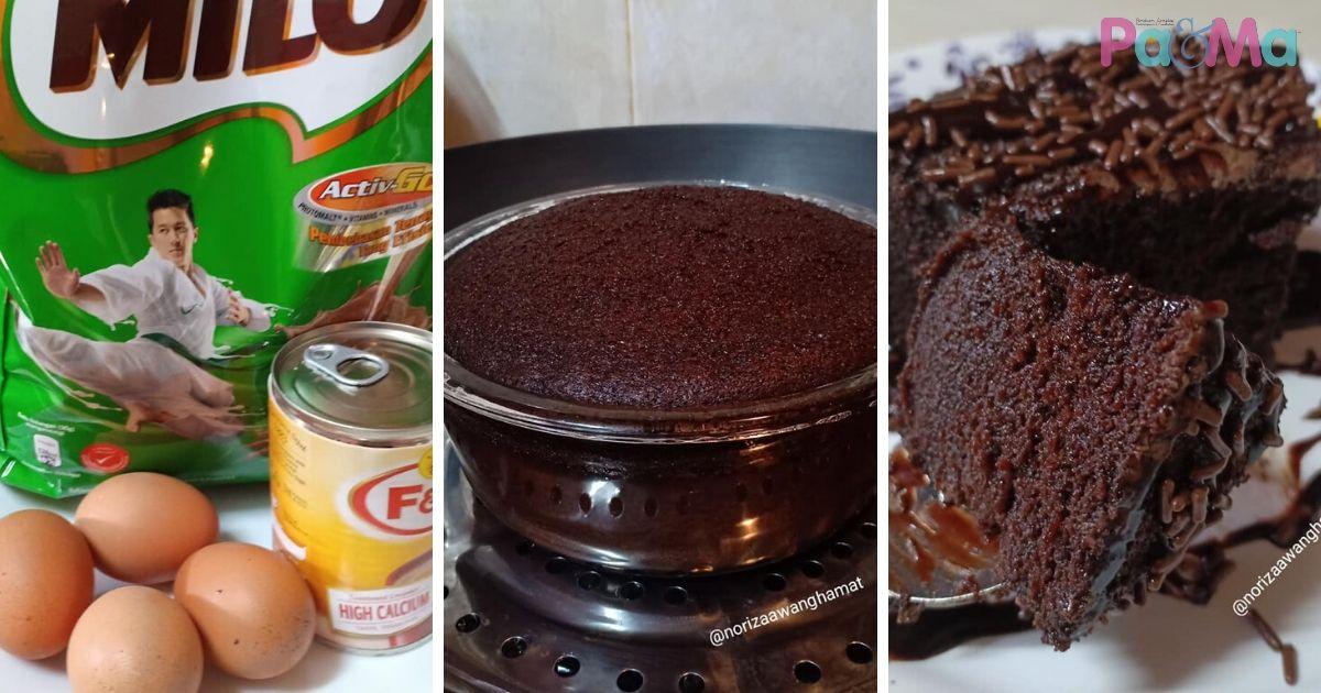 Mudah Sangat Bahan Pun Jimat Kek Milo 3 Bahan Buat Anak Anak Makan Tak Berhenti Pa Ma
